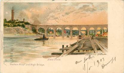 "CPA USA ""New York, Harlem River and High Bridge"""