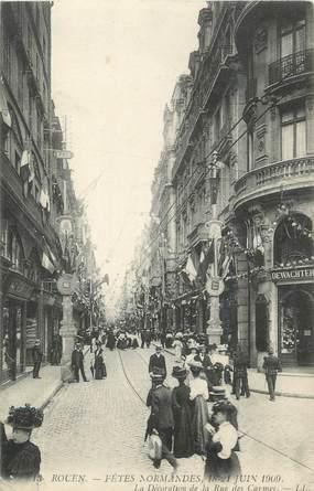 """. CPA  FRANCE  76 """" Rouen, Fêtes Normandes de 1909, la décoration de la rue des Carnes"""""""
