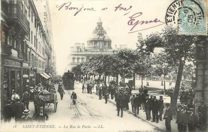 """.CPA  FRANCE 42 """"St  Etienne,  Rue de Paris"""" / TRAM"""