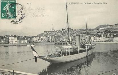 """CPA FRANCE 06 """"Menton, le Port et la vieille ville"""""""