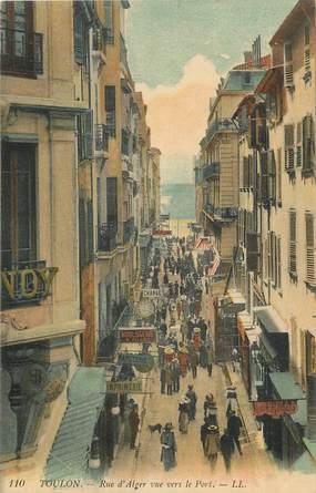 """CPA FRANCE 83 """"Toulon, rue d'Alger vue vers le Port"""""""