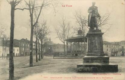 """CPA FRANCE 81 """" Graulhet, Statue Jean Jaurès et kiosque de la promenade""""."""