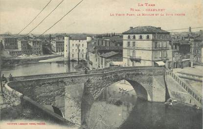 """CPA FRANCE 81 """" Graulhet, Le vieux pont, le moulin et la rive droite""""."""