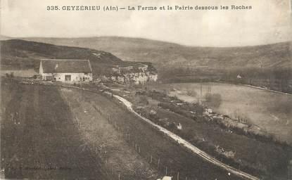 """CPA FRANCE 01 """"Ceyzérieu, La ferme et la prairie dessous les Roches""""."""
