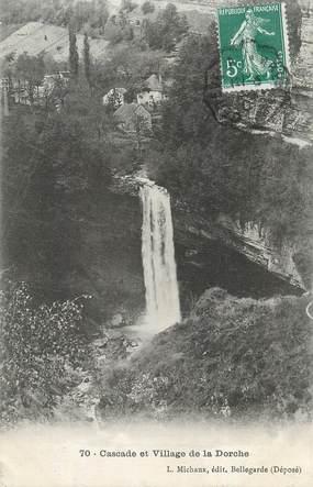 """CPA FRANCE 01 """"La Dorche, Le village et la cascade""""."""