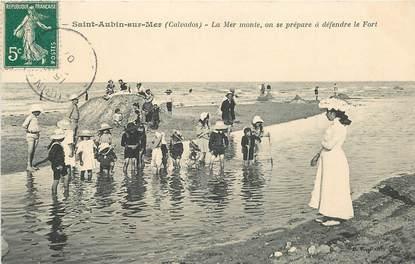 "CPA FRANCE 14 ""Saint Aubin sur Mer, La mer monte"""