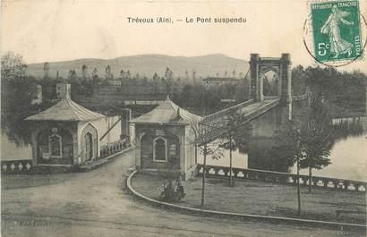 """CPA FRANCE 01 """" Trévoux, Le pont suspendu """"."""