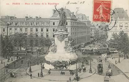 """CPA FRANCE 75011 """"Paris, Place et statue de la République"""""""