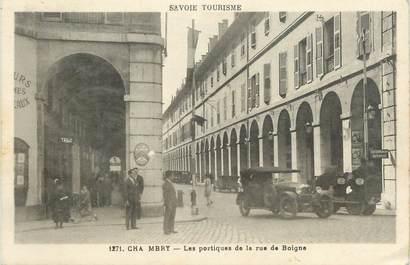 "CPA FRANCE 73 ""Chambéry, Les portiques de la rue de Boigne""."