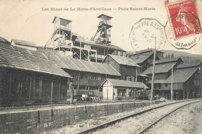 """CPA FRANCE 38 """"La Motte d'Aveillans, Les mines, puits Ste Marie"""". / MINES"""
