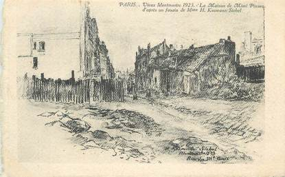 """CPA FRANCE 75 """"Paris, Vieux Montmartre en 1923""""."""