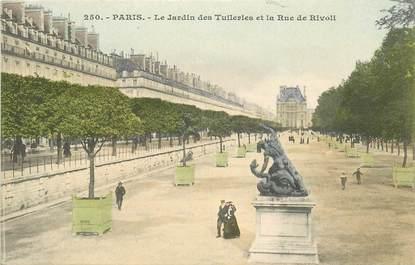 """CPA FRANCE 75001 """"Paris, le Jardin des Tuileries et la rue de Rivoli"""""""