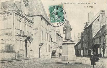 "CPA FRANCE 14 ""Bayeux, Statue d'Alain Chartier""."