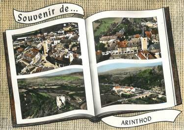 """CPSM FRANCE 39 """"Arinthod, Place de la fontaine, les arcades, ruines de la tour, le moulin""""."""