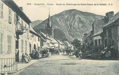 """CPA FRANCE 38 """"Corps, Route du pélérinage de Notre Dame de la Salette"""". ."""