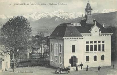 """CPA FRANCE 38 """"Chapareillan, La Mairie et chaîne de Belledonne""""."""