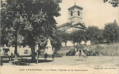 """CPA FRANCE 38 """"Les Avenières, La place, l'église et le monument""""."""