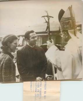 "PHOTO ORIGINALE ITALIE ""Rome, Le Pape Paul VI et le roi Constantin avec son épouse"""