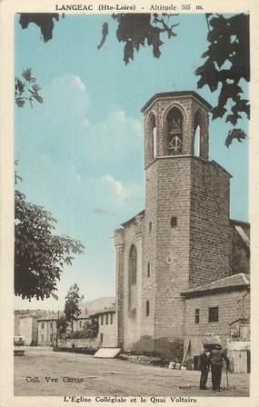 """CPA FRANCE 43 """"Langeac, L'église collégiale et le quai Voltaire """"."""