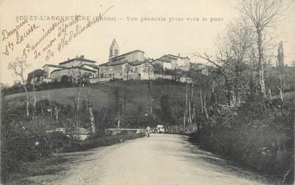 """CPA FRANCE 69 """"Souzy l'Argentière, Vue générale prise vers le pont""""."""