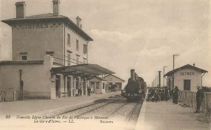 """CPA FRANCE 13 """"Nouvelle ligne de chemin de Fer de l'Estaque à Miramas, la Gare d'Istres"""" / TRAIN"""
