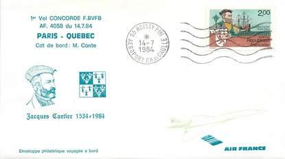 """LETTRE 1 ER VOL DU CONCORDE """"Paris / Quebec, 14 juillet 1984, Commandant de Bord M. CONTE"""""""