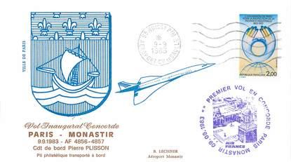 """LETTRE 1 ER VOL DU CONCORDE """"Paris / Monastir, 9 septembre 1983, commandant de bord: Pierre PLISSON"""""""