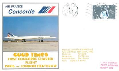 """LETTRE 1 ER VOL DU CONCORDE """"Paris / Londres, 16 mars 1980, Commandant de Bord: P. CONTE"""""""