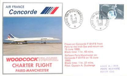 """LETTRE 1 ER VOL DU CONCORDE """"Paris / Manchester, 15 juin 1980, Commandant de Bord A. DUCHANGE"""""""