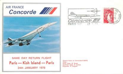 """LETTRE 1 ER VOL DU CONCORDE """"Paris / Kish Island 1978, Commandant de Bord A. COLLOC"""""""