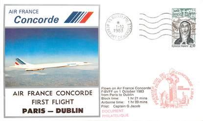 """LETTRE 1 ER VOL DU CONCORDE """"Paris / Dublin, 1er octobre 1983, Commandant de bord G. JACOB"""""""