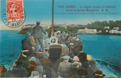 """CPA FRANCE 06 """"Cannes, le vapeur faisant la traversée en vue de Sainte Marguerite"""""""