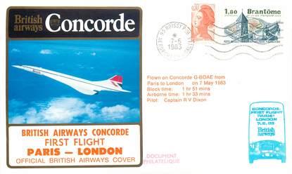"""LETTRE 1 ER VOL DU CONCORDE """"Paris / Londres, 7 mai 1983, Commandant de bord V DIXON"""""""