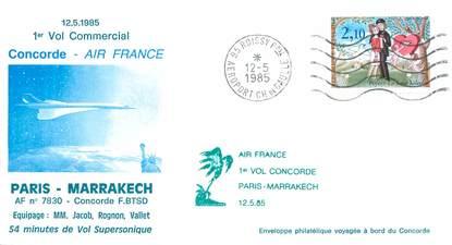 """LETTRE 1 ER VOL DU CONCORDE """"Paris / Marrakech, 12 mai 1985"""""""