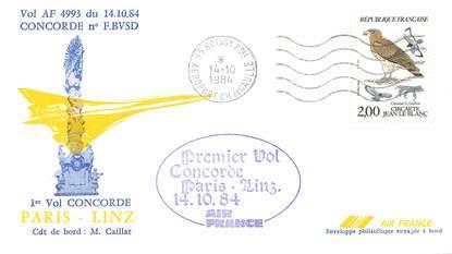 """LETTRE 1 ER VOL DU CONCORDE """"Paris / Linz, 14 octobre 1984, Commandant de Bord: M. CAILLAT"""""""