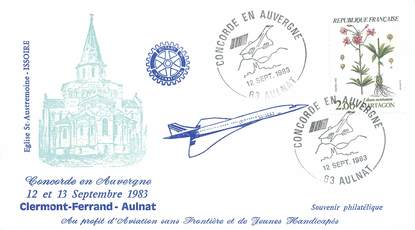 """LETTRE 1 ER VOL DU CONCORDE """"Clermont Ferrand / Aulnat, 12 septembre 1983"""""""