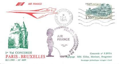 """LETTRE 1 ER VOL DU CONCORDE """"Paris / Bruxelles, 22 janvier 1985"""""""