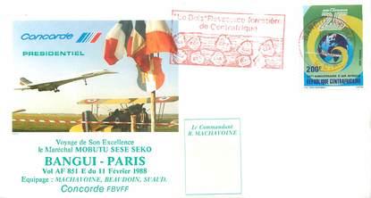 """LETTRE 1 ER VOL DU CONCORDE """"Bangui / Paris, 11 février 1988"""""""