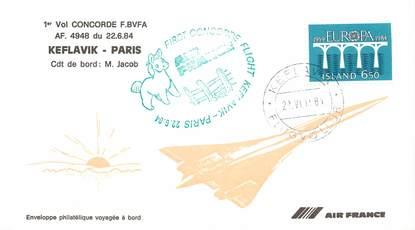 """LETTRE 1 ER VOL DU CONCORDE """"Keflavik / Paris, 22 juin 1984, Commandant de Bord: M. JACOB"""""""