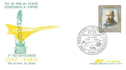 """LETTRE 1 ER VOL DU CONCORDE """"Linz / Paris, 14 octobre 1984, Commandant de Bord: M. CAILLAT"""""""