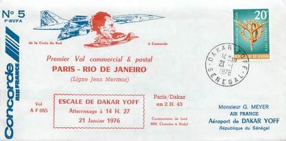 """LETTRE 1 ER VOL DU CONCORDE """"Paris / Rio de Janeiro, 21 janvier 1976"""""""