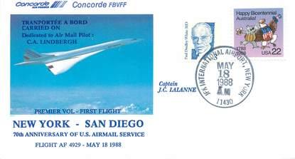 """LETTRE 1 ER VOL DU CONCORDE """"New York / San Diego, 18 mai 1988, commandant de Bord: JC LALANNE"""""""