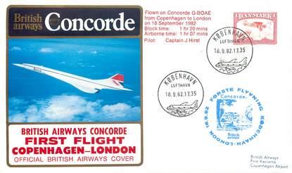 """LETTRE 1 ER VOL DU CONCORDE """"Copenhague / Londres, 18 septembre 1982, Commandant de Bord: J. HIRST"""""""