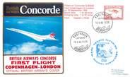 """1 Er Vol LETTRE 1 ER VOL DU CONCORDE """"Copenhague / Londres, 18 septembre 1982, Commandant de Bord: J. HIRST"""""""
