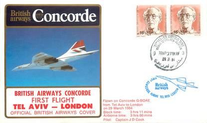 """LETTRE 1 ER VOL DU CONCORDE """"Tel Aviv / Londres, 29 mars 1984, Commandant de Bord: D. COOK"""""""