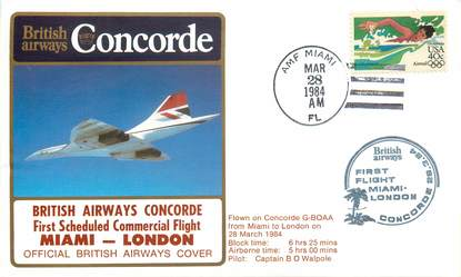 "LETTRE 1 ER VOL DU CONCORDE ""Miami / Londres, 28 mars 1984, commandant de Bord: O. WALPOLE"""