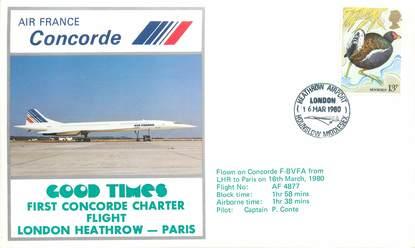 """LETTRE 1 ER VOL DU CONCORDE """"Londres / Paris, 16 mars 1980, commandant de Bord P. CONTE"""""""