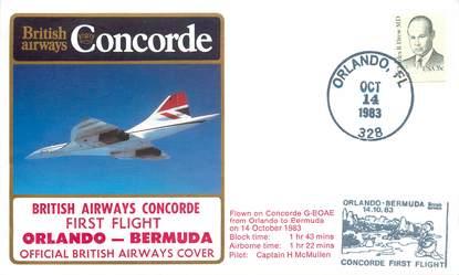 "LETTRE 1 ER VOL DU CONCORDE ""Orlando / Bermudes, 14 octobre 1983, Commandant de Bord: Mc MULLEN"""