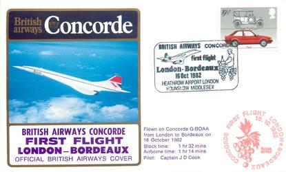 """LETTRE 1 ER VOL DU CONCORDE """"Londres / Bordeaux, 16 octobre 1982, Commandant de Bord: D. COOK"""""""
