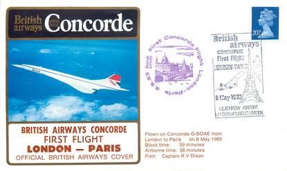 """LETTRE 1 ER VOL DU CONCORDE """"Londres / Paris, 6 mai 1983, Commandant de Bord: DIXON"""""""